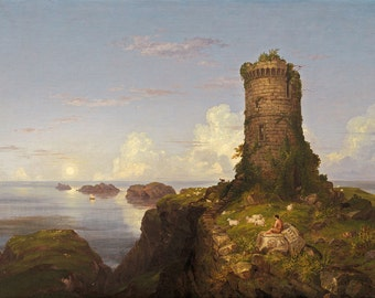 "Thomas Cole : ""Italian Coast Scene with Ruined Tower"" (1838) - Giclee Fine Art Print"