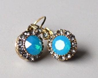 Earrings turquoise crystal opal earrings