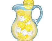 "CLEARANCE! Jumbo 33"" Lemonade Pitcher Balloon, High Quality Helium Balloon"