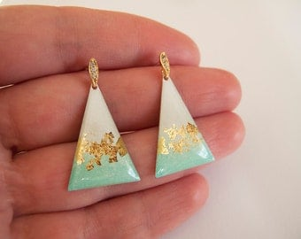 Dangle Triangle  Earrings - Gift for her