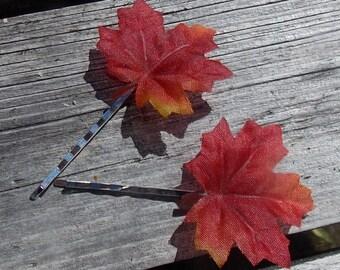 Fall Leaves Hair Pins, Pair of Maple Leaf Bobbie Pins in Autumn Colors, Fall Wedding, Autumn Flower Girl, Fall Maple Leaves, Fall Colors