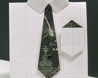 Male dress shirt greeting card, Sophisticated masculine any occasion card, Subtle grid pattern, Black tie, Men, Guys, Dads, Bros, Uncles