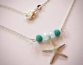 Stunning Aqua  Turquoise Faceted Glass Beads with a Sterling Silver Starfish Charm on 18 Sterling Silver Link Chain