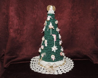 Miniature Victorian Christmas Tree with Ornaments Handcrafted Crochet