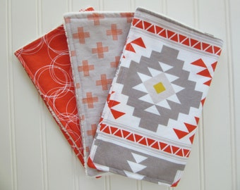 Baby Boy Aztec Burp Cloth Set, Set of 3 Burp Cloths: Aztec Burp Cloth, Gray and Orange Plus Burp Cloth and Orange with White Burp Cloth