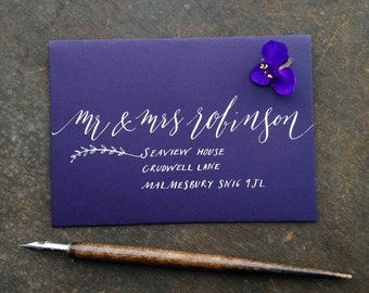 Calligraphy for coloured envelopes