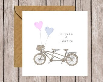 Personalised Wedding/Engagement/Anniversary Tandem Card