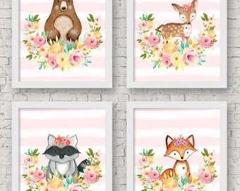 Woodland Creatures Wall Art- Woodland Nursery Decor- Woodland Nursery Decor Girl