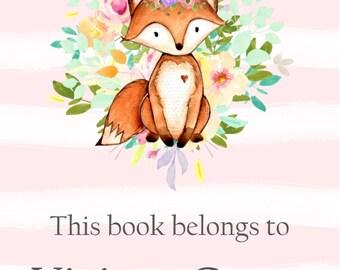 Personalized Bookplate Sticker-Fox