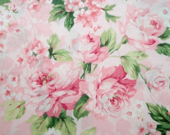Vintage LOVE & HOPE 2005 Gorgeous Pink Cabbage Roses Faye Burgos OOP 2005 Fabric Hard to Find