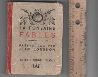 miniature  vintage rare book French poetry   Les Fables de La Fontaine