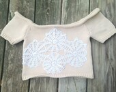 Vintage Handmade Sewn Doily Patchwork Beige Tan Crochet Knit Cropped Sweater Off the Shoulder Shrug