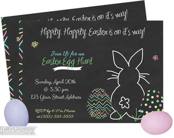 Printable Chalkboard Easter Egg Hunt Party Invitations - Bunny Colorful Eggs