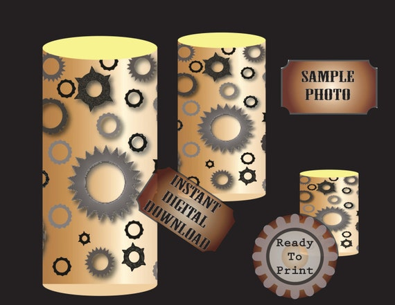 Steampunk Gear Candle Wrap
