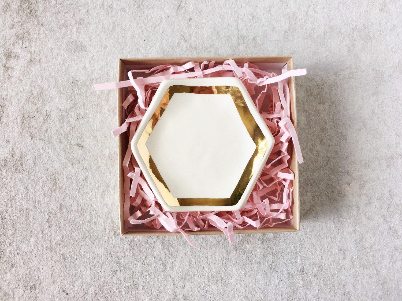 Gold Trim Hexagon Ring Dish