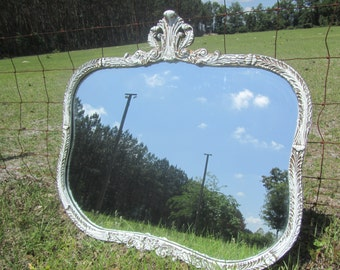 Antique mirror,Shabby chic mirror, white mirror, vintage mirror, French country, mirror, frame,ornate mirror, rococo,large mirror,