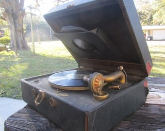 Victrola,portable record player, Antique phonograph parts, record player parts, Victrola Parts, Steampunk,Turntable Parts