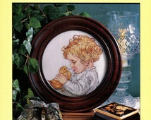 Cross Stitch - MY BABY DUCK Pattern - So Cute Young Child with a Duckling - Original Hard Copy Pattern Leaflet - Kenyon Books