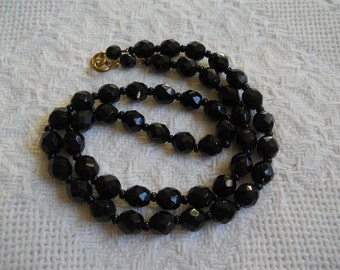 Vintage~ Jet Black Faceted Glass Bead Necklace ~ 18""