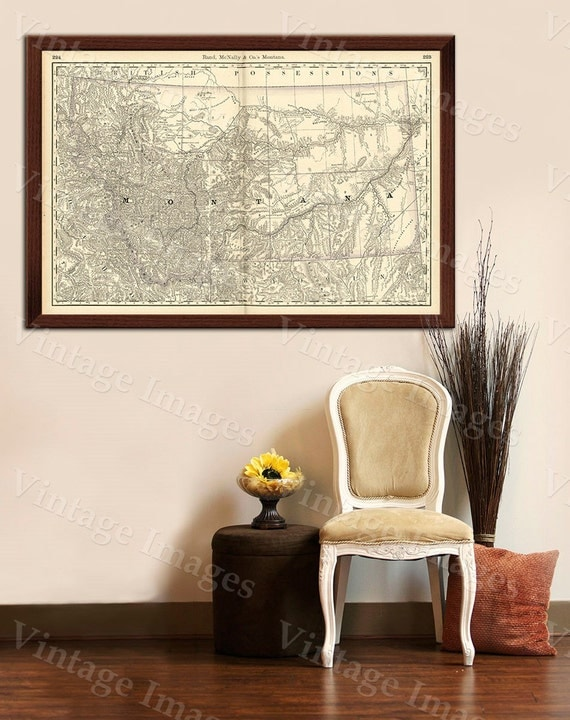 Old Map of Montana MONTANA ART 1888 Antique Restoration Hardware Style Montana Wall map Vintage Montana map wall art home office decor