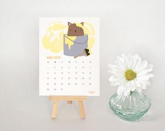 2016 Desk Calendar, Illustrated Kitties