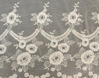 Ivory Floral Rain Double Border Scallop Cotton Lace Fabric by the bulk 564-LACE-EMB-IVORY