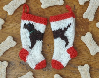 Chocolate Labrador Dog Christmas Stocking Ornament  Hand-Knit Dog Ornament  Puppy Ornament