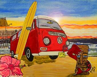 Surf Art...Surfing Print...VW Surf Van at Sunrise...Surf Art