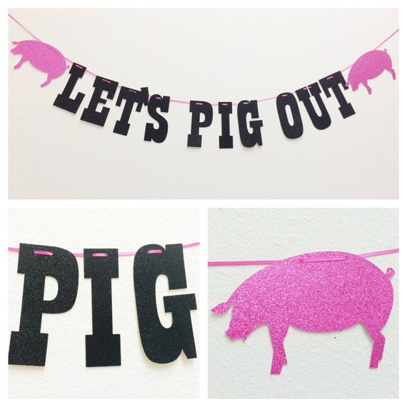 Let's Pig Out Banner Farm Animal Birthday Food Table