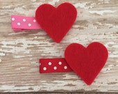 Red Felt Heart Hair Clip - Valentines Hair Accessory - Girls Heart Hair Clip - Valentines Party Favor - Heart Hair Clip - Red Hair Clips
