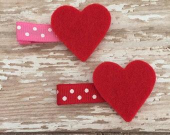 Red Felt Heart Hair Clip - Valentines Hair Accessory - Girls Heart Hair Clip - Valentines Party Favor - Heart Hair Clip - Red Hair Clips