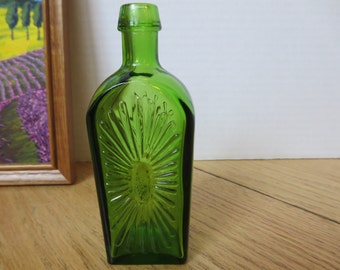 Vintage Wheaton NJ Starburst Emerald Green Pressed Glass Bottle Cottage Chic Collectible Reproduction Flower Decanter