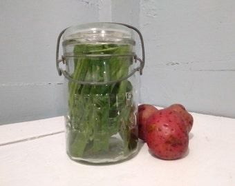 Vintage, Pint Jar, Foster, Sealfast, Canning, Jar, Glass, Lid, Wire Bail, Mold 3, Kitchen Decor, Farmhouse Decor, RhymeswithDaughter