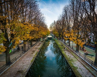 Autumn color along Canal Saint-Martin in Paris, France. | Photo Print, Stretched Canvas, or Metal Print.