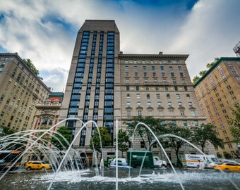 Fountains and buildings in the Upper East Side, Manhattan, New York. | Photo Print, Stretched Canvas, or Metal Print.