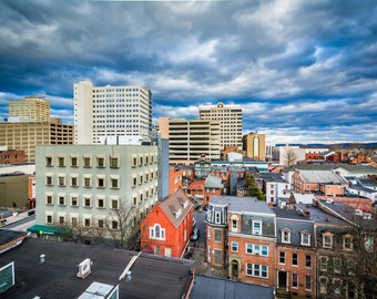 View of houses and buildings in downtown Harrisburg, Pennsylvania. | Photo Print, Stretched Canvas, or Metal Print.