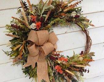 Rustic Front Door Wreath,Woodland Wreath,Year Round Wreath, Primitive Wreath, Winter Wreath, Full Burlap Bow