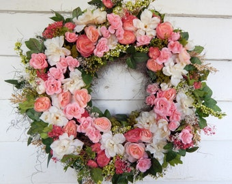 "Delicious Silk Floral Wreath""Candy Kisses"" Year Round Wreath,Front Door Wreath, Centerpiece, Flower Wreath, Wedding Decor, Year Round Wreath"