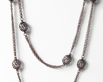Copper Necklace - Long Necklace - Layered Necklace  Cage Bead Chain Necklace - Copper Chain Minimalist Necklace - Understated Jewelry