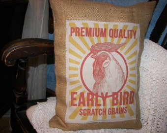 Farmhouse-chic, vintage style feed sack decorative pillow