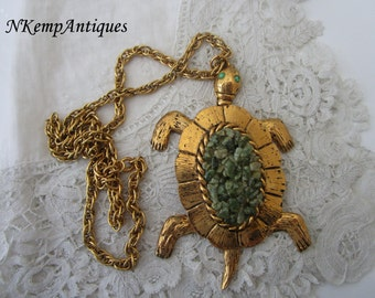 Vintage turtle pendant and chain
