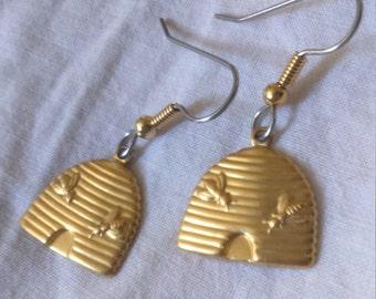 """Dangling earrings. """"Honey Bee"""" hive, bees"""