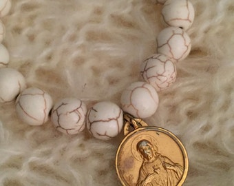 White Turquoise Beaded Bracelet with Vintage Religious Medal