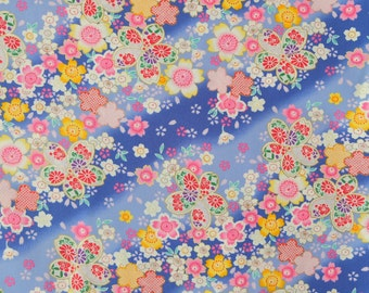 Sakura Diagonal Blue Japanese Cotton Fabric Per 50cm - TG102