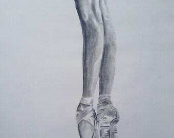 Ballerina Legs Charcoal Sketch - 11x12.5 - en pointe