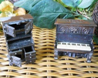 Vintage 1960's-70's Metal Pencil Sharpeners set of Two Made in HONG KONG ~ Cabinet, Piano ~ Natural Bounty Vintage