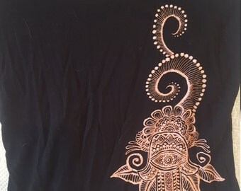 Henna Inspired Bleach Hamsa Festival Wear - One-of-a-Kind Freehand Adornment!!