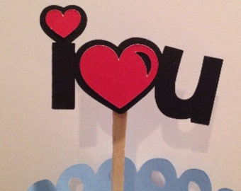 I Love/Heart You Cupcake Topper