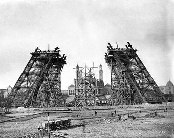 Eiffel Tower Construction in 1887, Paris, France  Photo Print