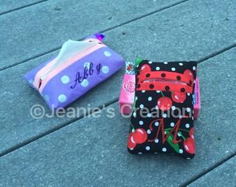 Personalized Pocket Tissue Cover / Pocket tissue holder / Fabric tissue holder